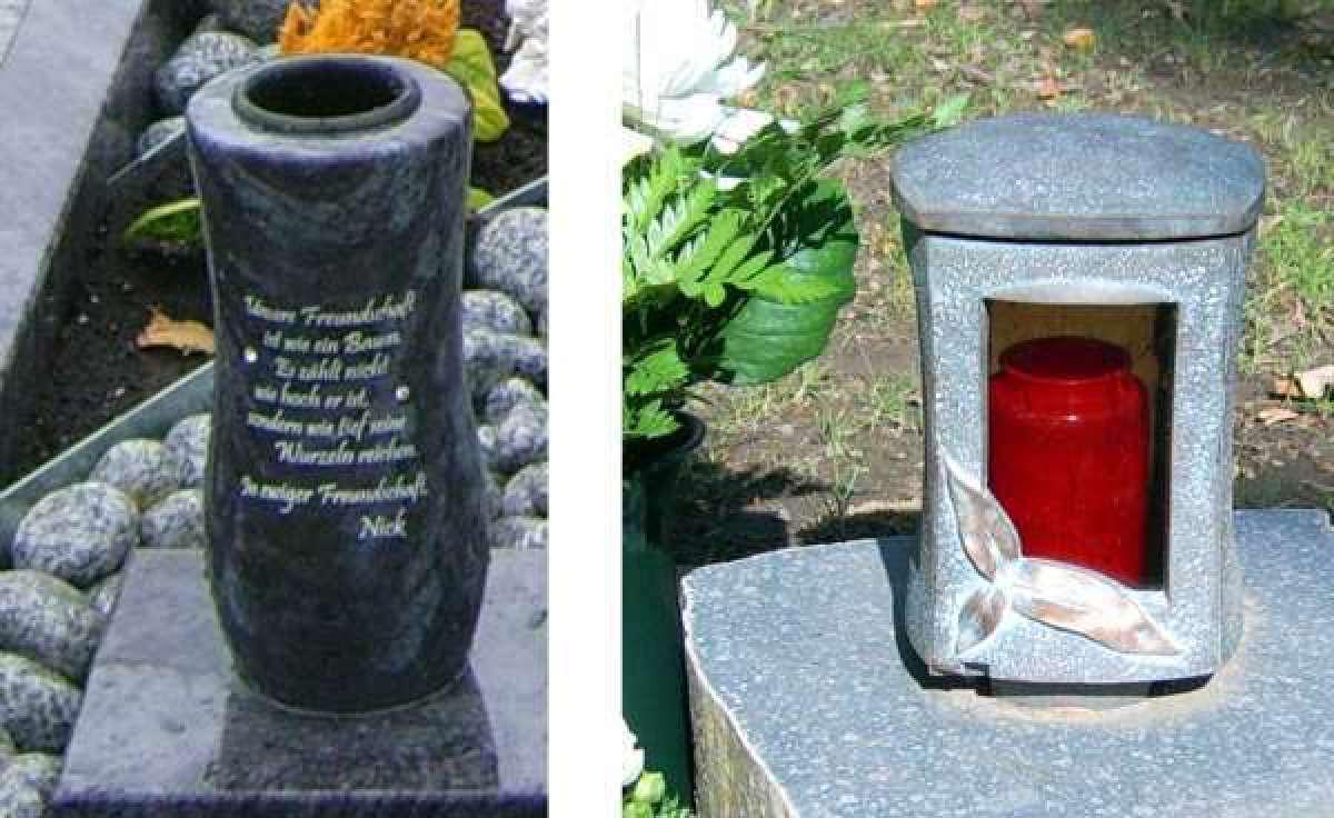 Vase aus Naturstein, Laterne aus Bronze